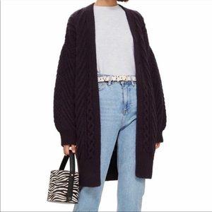 Top Shop Longline Chunky Knit Purple Cardigan